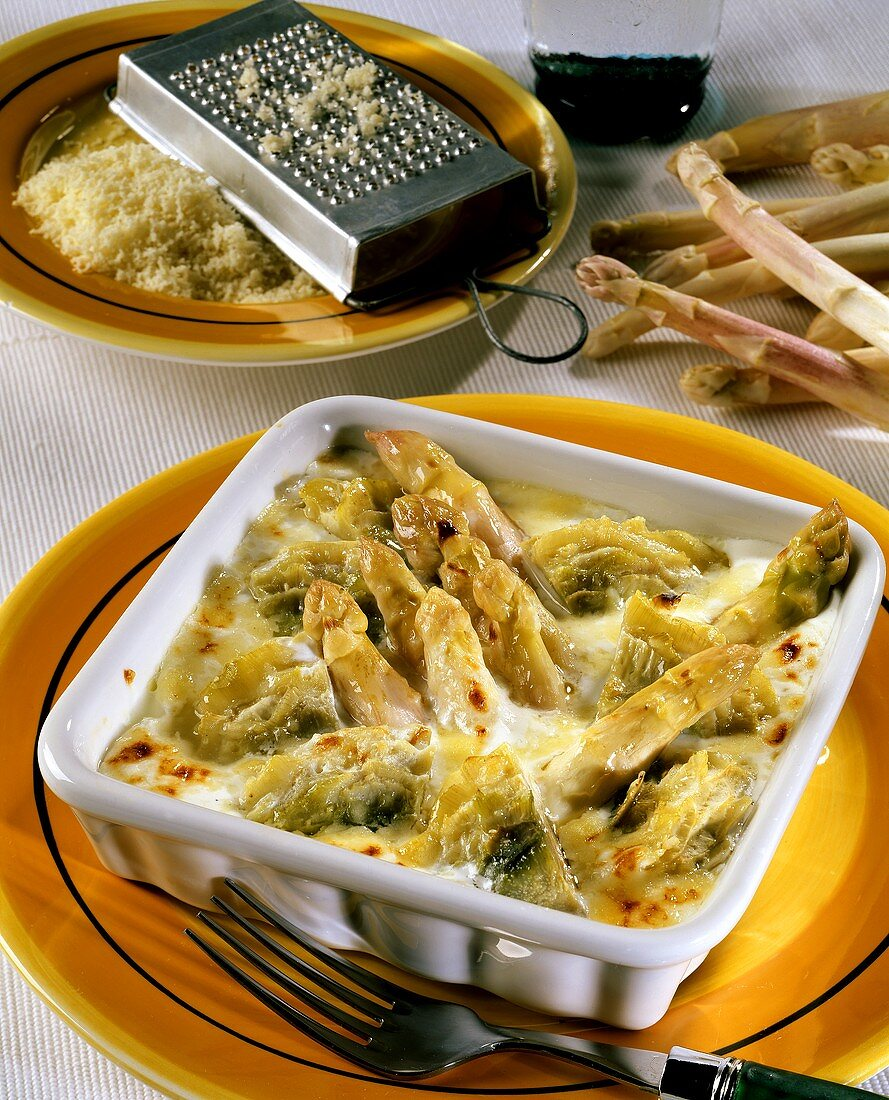 Asparagus and artichoke souffle in the dish