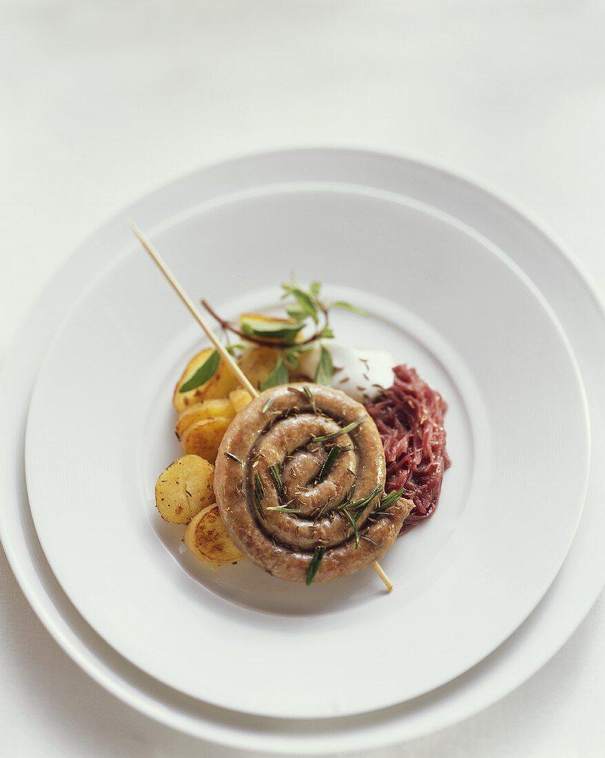 Plaaten in de Pann from Westphalia (Sausage & fried potatoes)