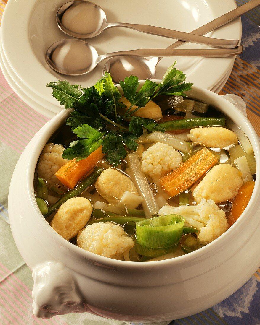 Frische Suppe (North German vegetable stew with dumplings)