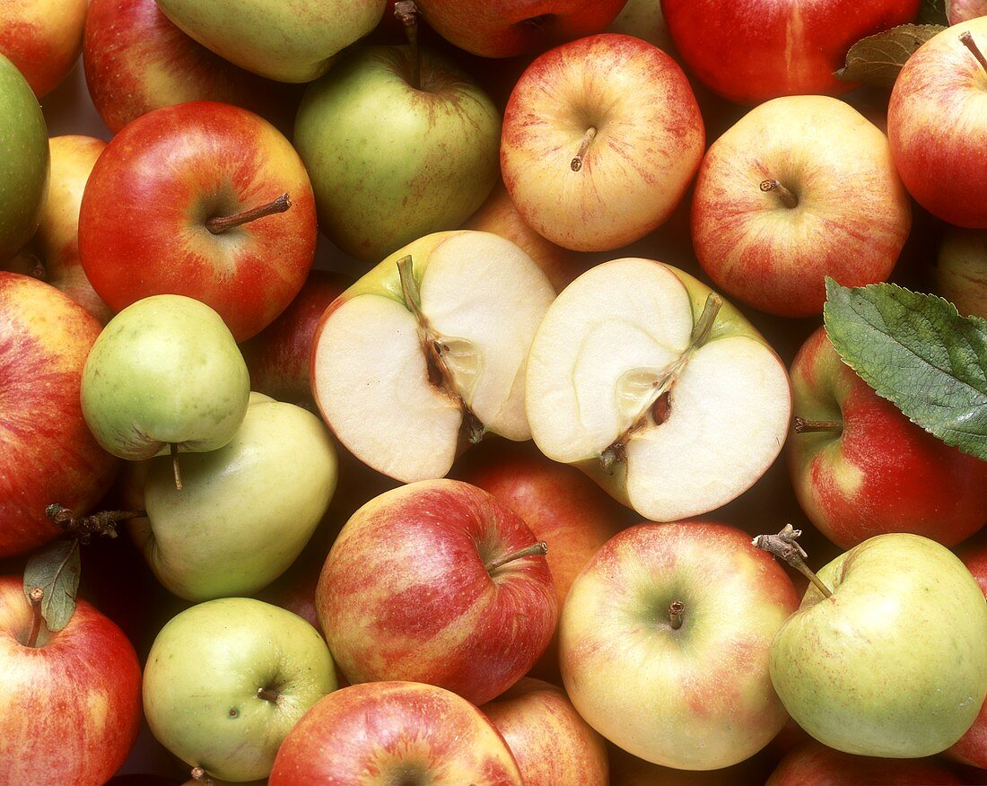 Various types of apples (filling picture) & halved apple