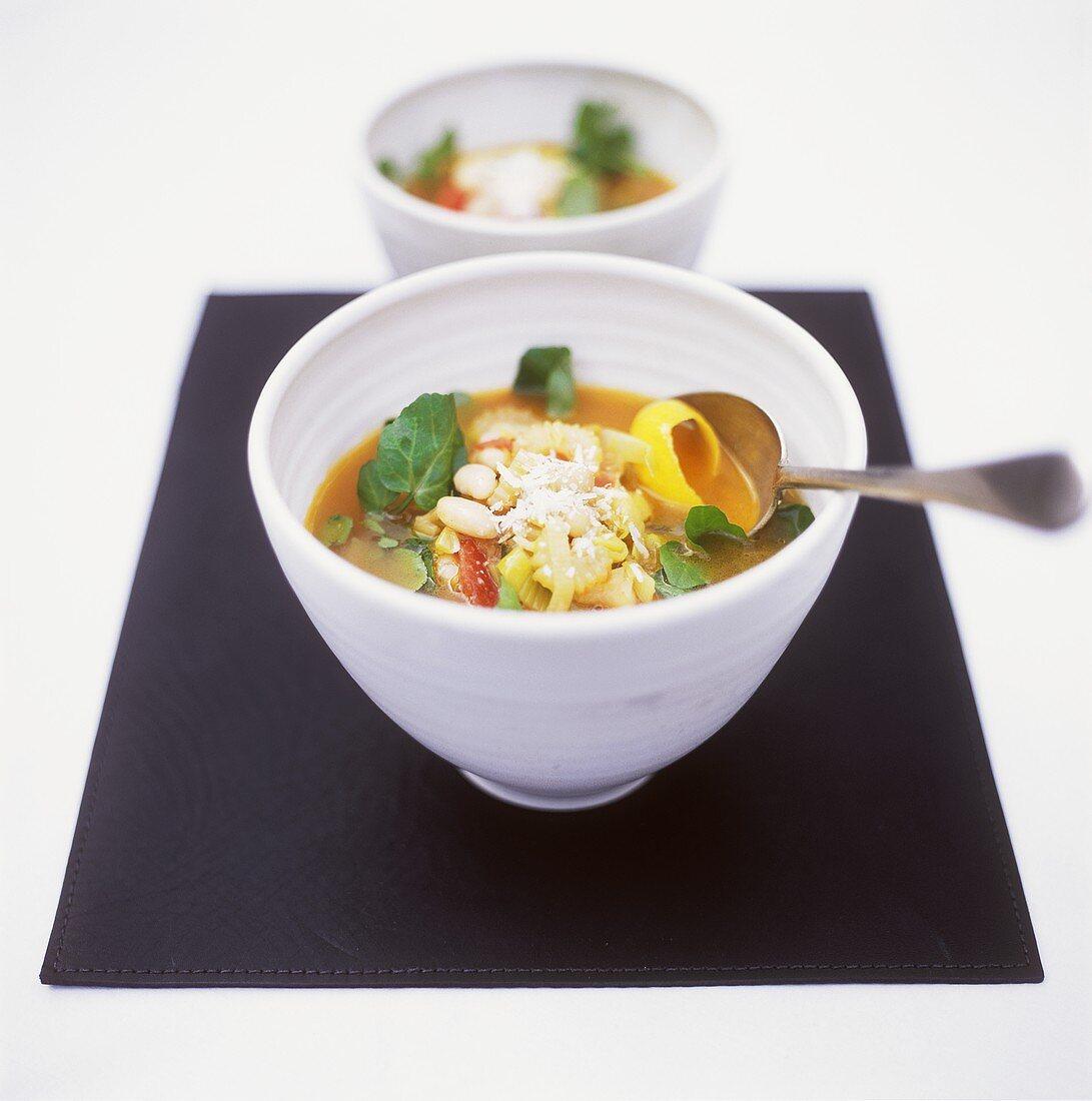 Minestrone con fagioli e crescione (vegetable soup)