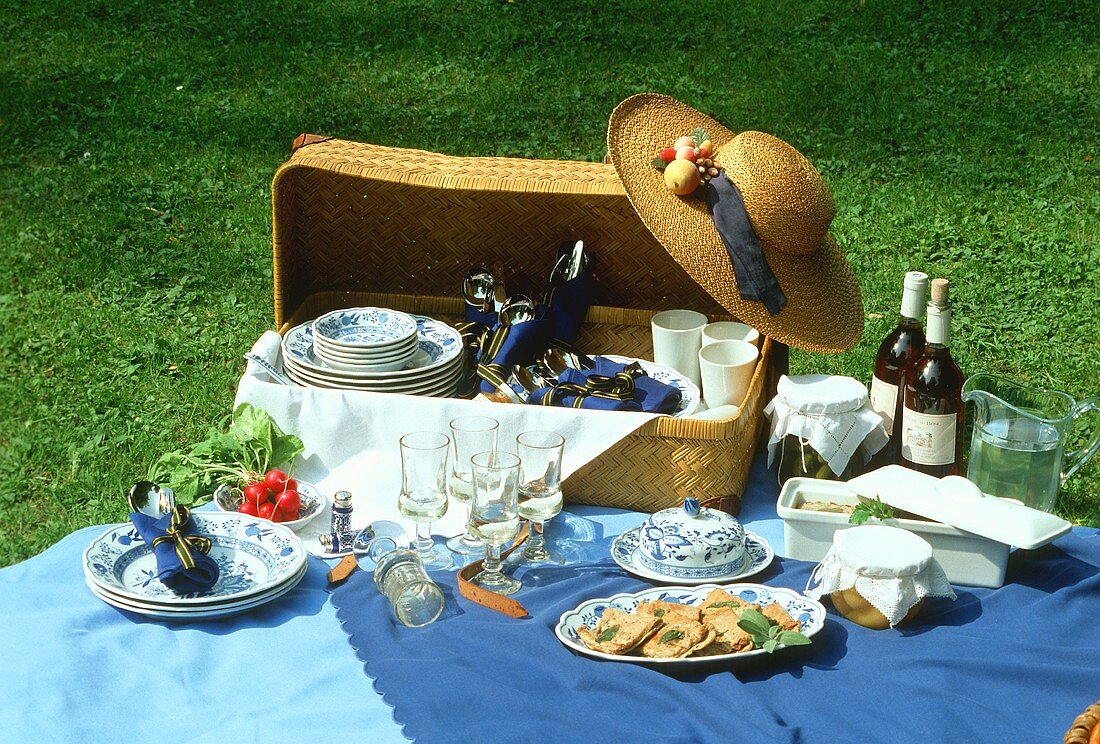 Picnic in the open air with basket & table cloth