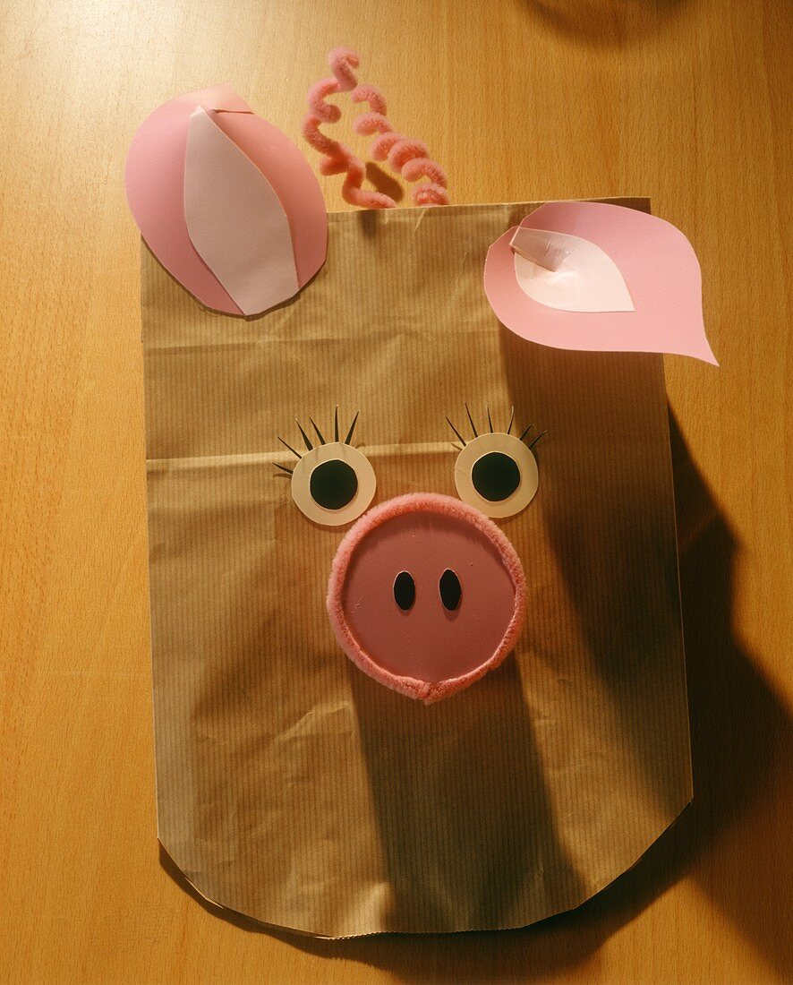 Paper animal masks for children's party; pig