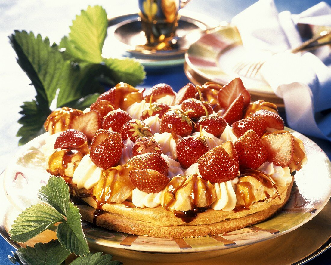 St. Honore gateau with vanilla cream & strawberries