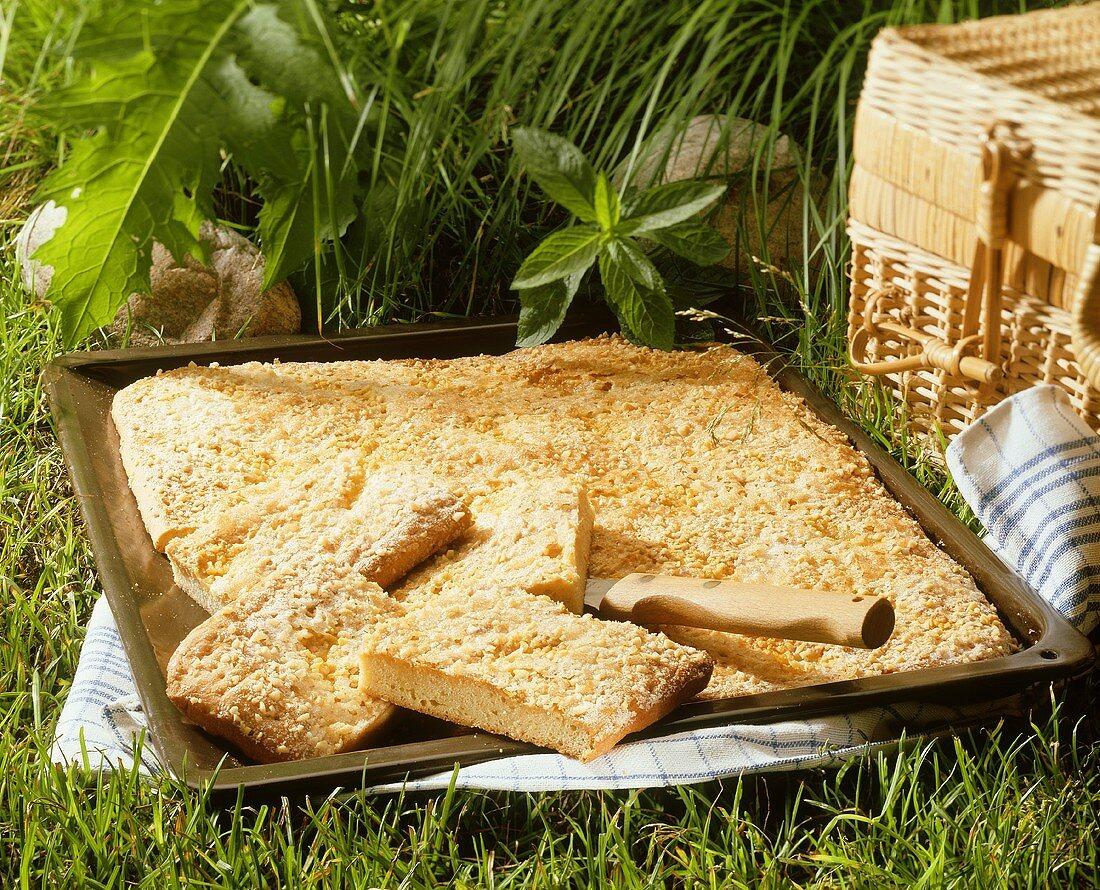 Crumble cake on baking sheet for picnic