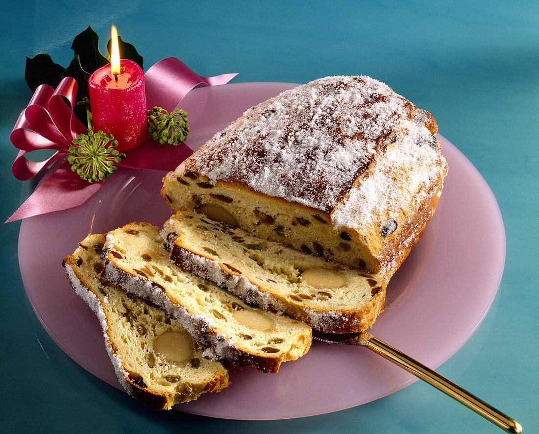 Marzipan strudel, partly sliced