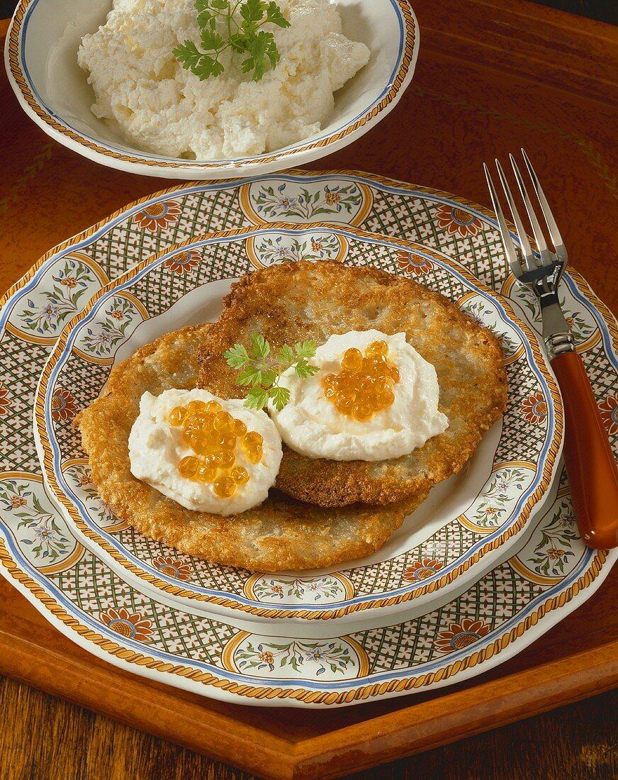 Potato rosti with cream cheese and caviare