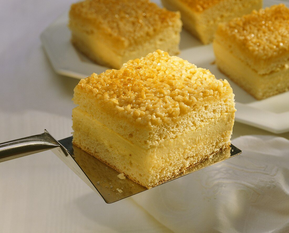 A piece of bee-sting cake on cake slice