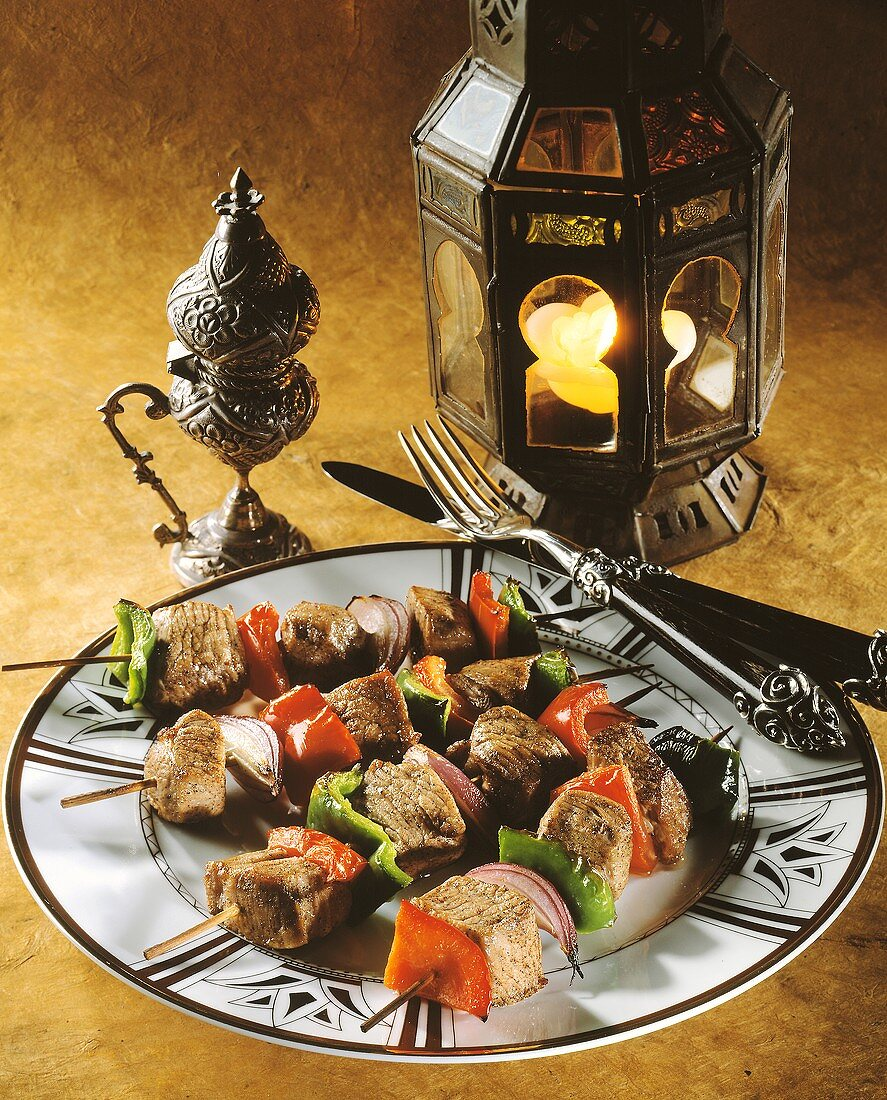 Grilled lamb kebabs with peppers & onions from Egypt