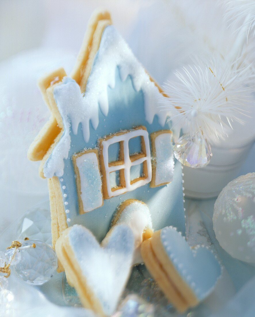 Blue pastry house and hearts