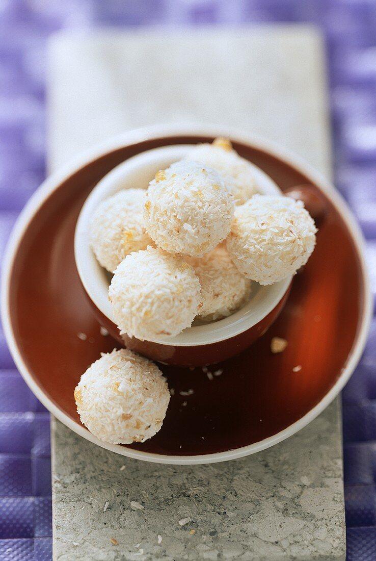 Coconut truffle in a cappuccino cup