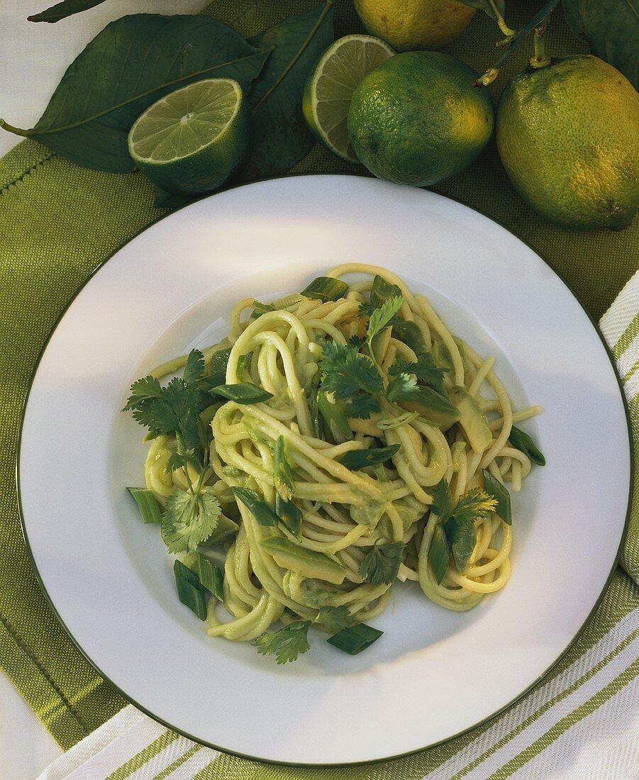 Spaghetti with avocado & lime sauce and coriander