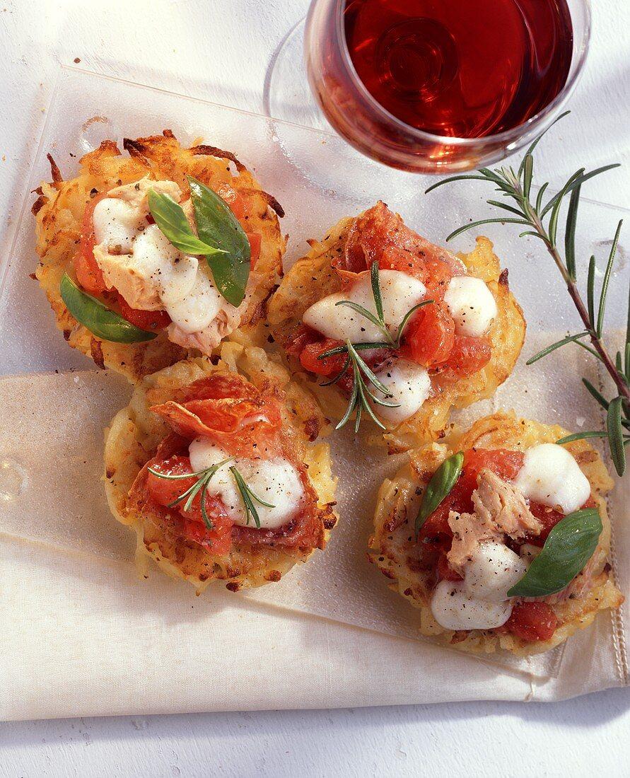 Pizza potato cakes with tuna and mozzarella