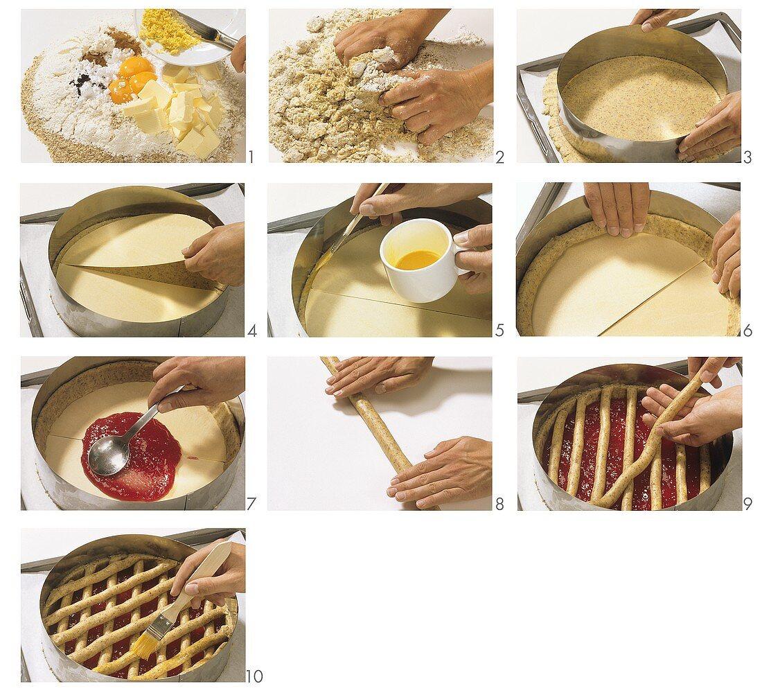 Making Linzer torte
