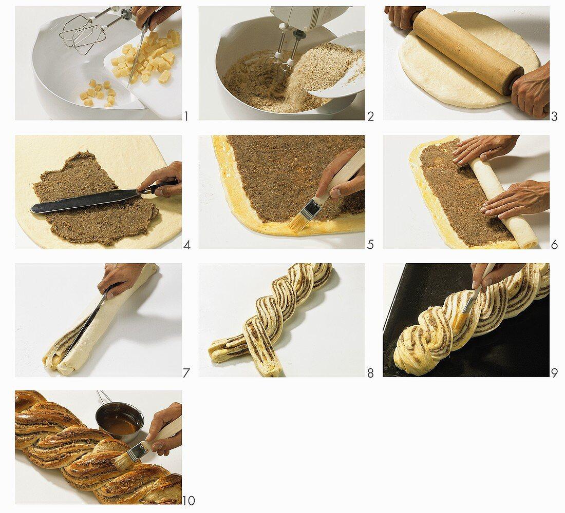 Making an almond plait