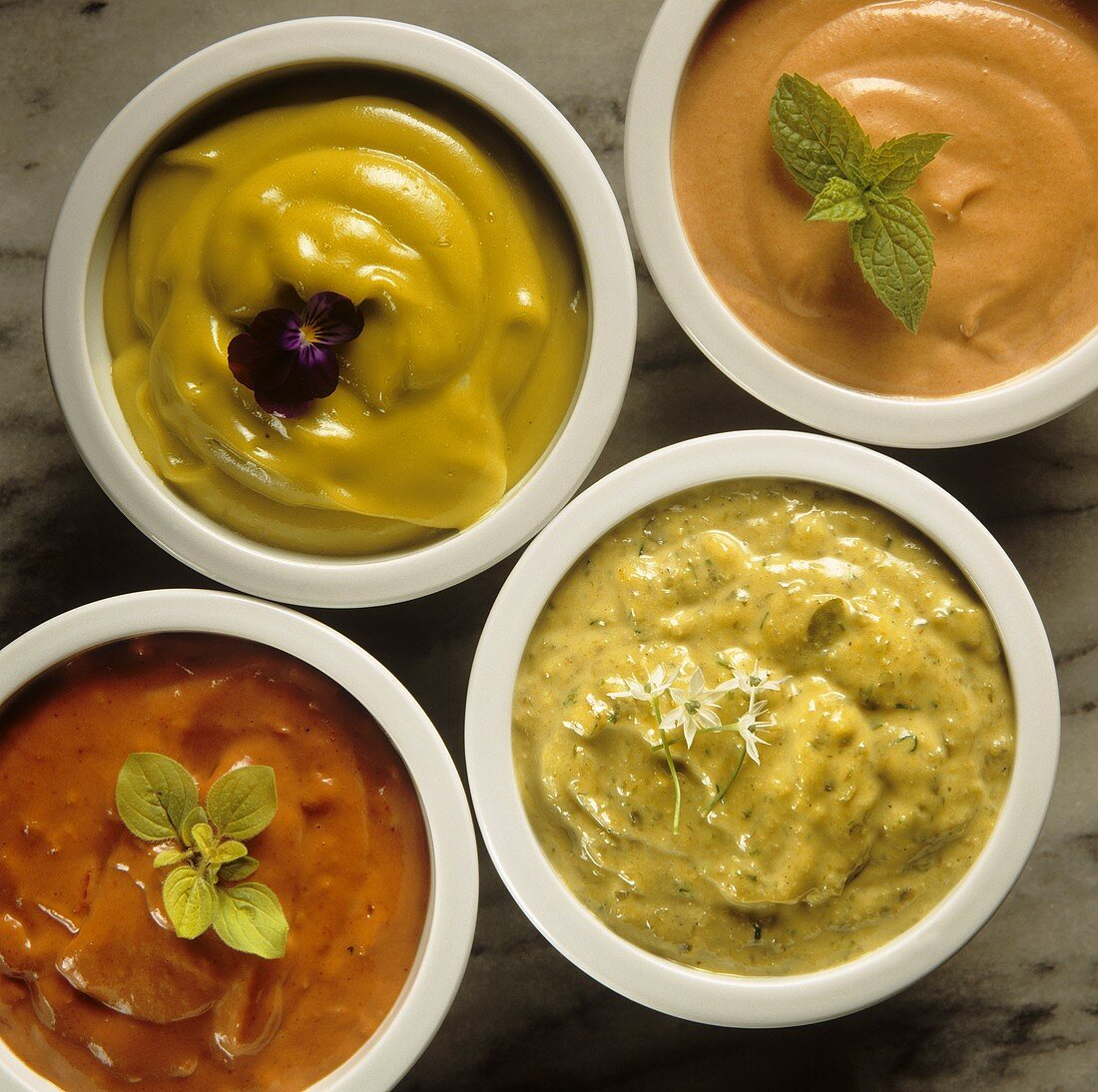 Cocktail sauce, mustard sauce, herb sauce & tomato sauce