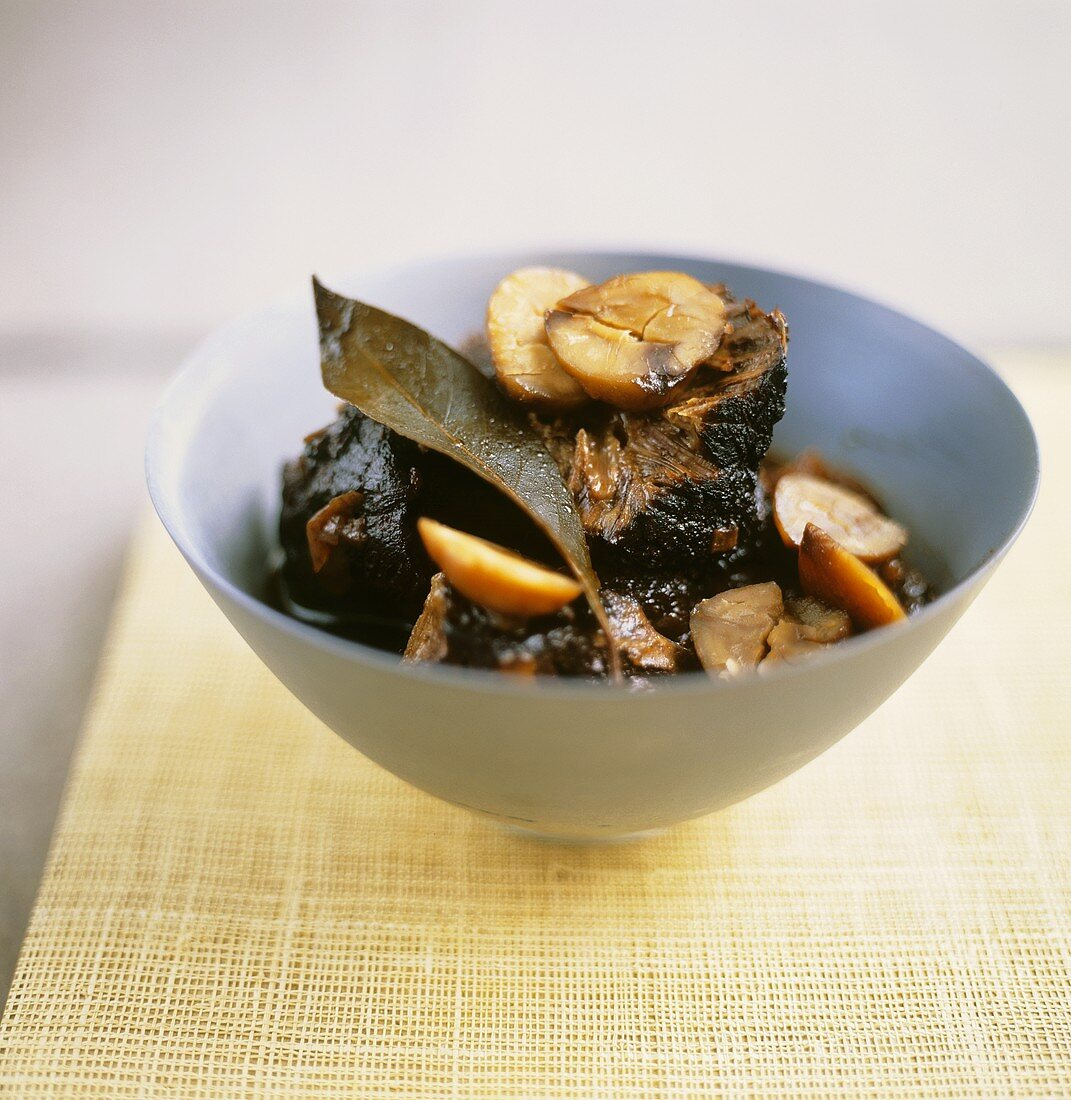 Roast wild boar with chestnuts