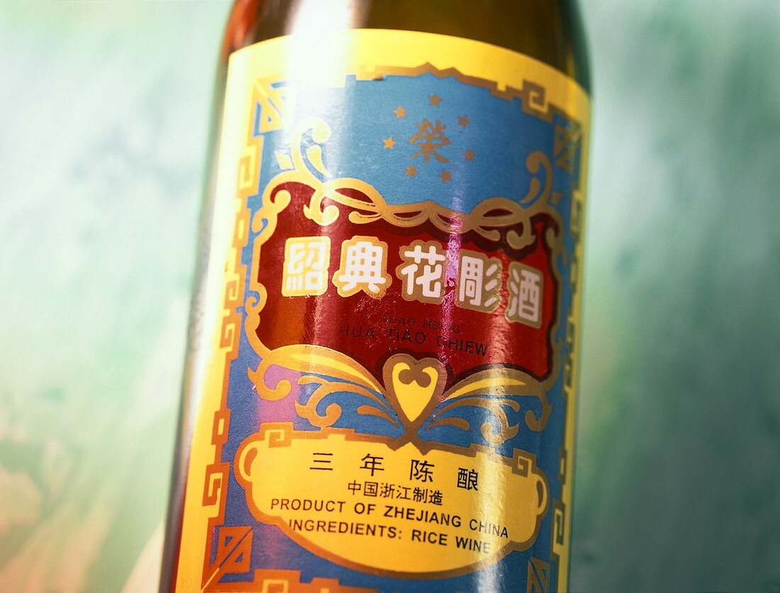 Close-up of a bottle of rice wine from China