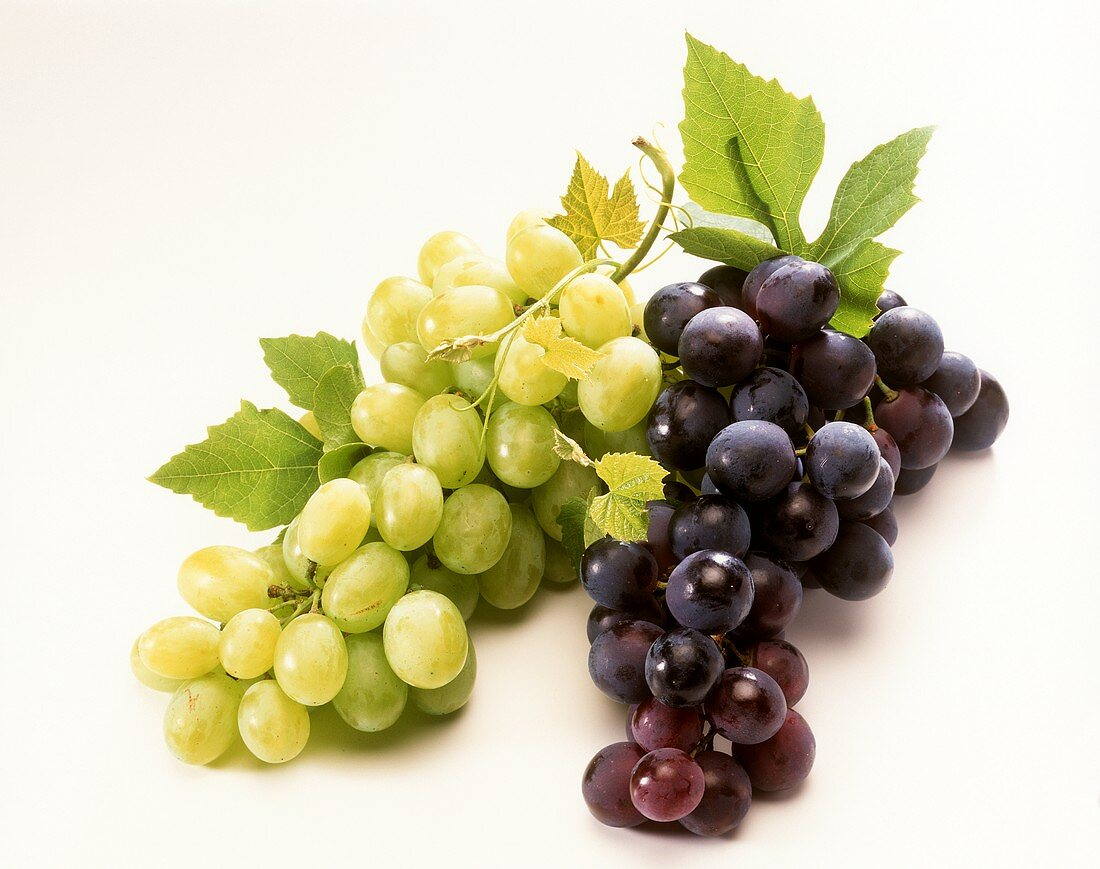 Black and green grapes side by side