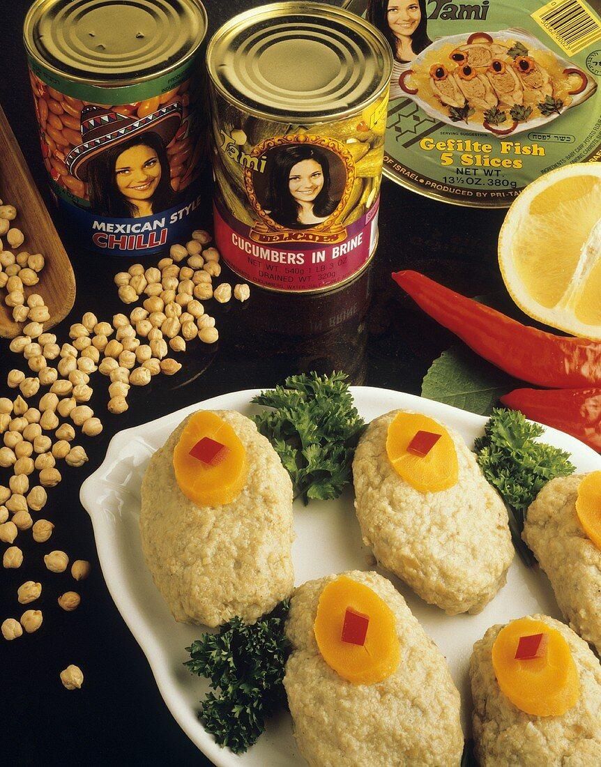 Gefilte fish (Jewish speciality) & Israeli tinned foods