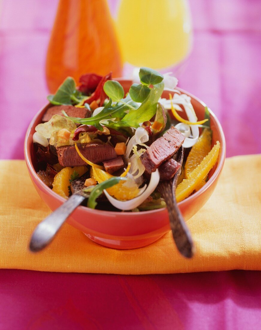 Fruit salad with ostrich meat