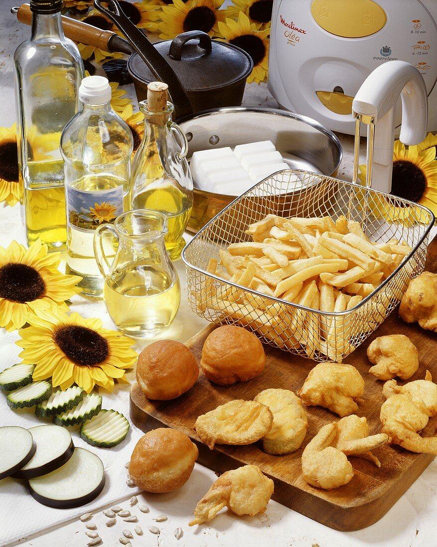 Various deep-fried vegetables and deep-fat fryer
