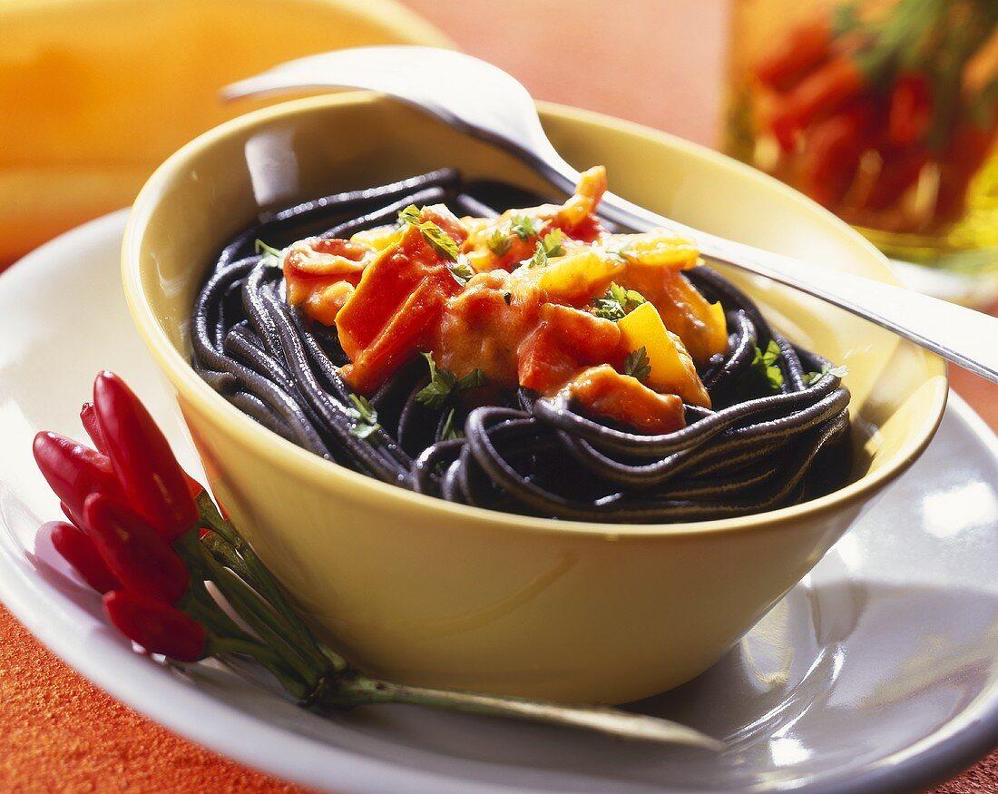 Devilish spaghetti (black spaghetti with hot sauce)