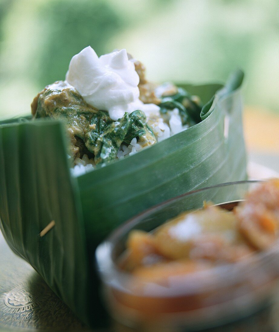 Indian lamb curry with spinach and rice in banana leaf