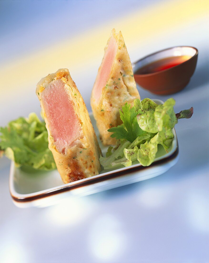 Tuna in rice leaf with soya sherry sauce