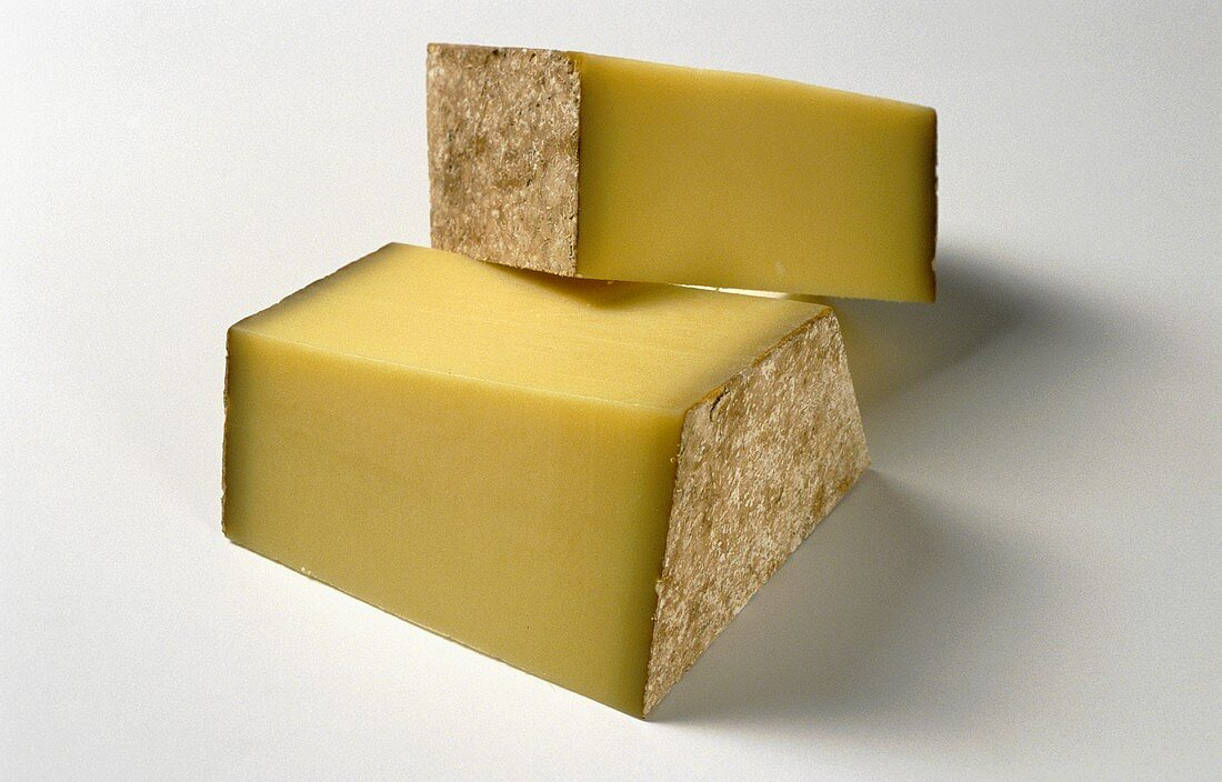 Two pieces of Swiss cheese