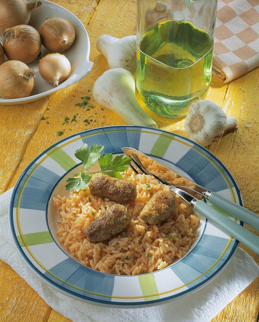 Cevapcici with rice