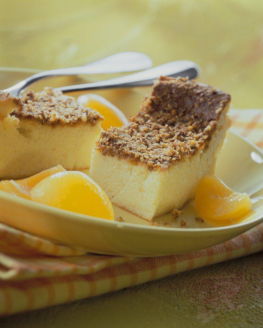 Quark semolina pudding with apricots