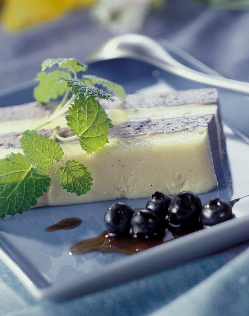 Blue and white Bavarian crème