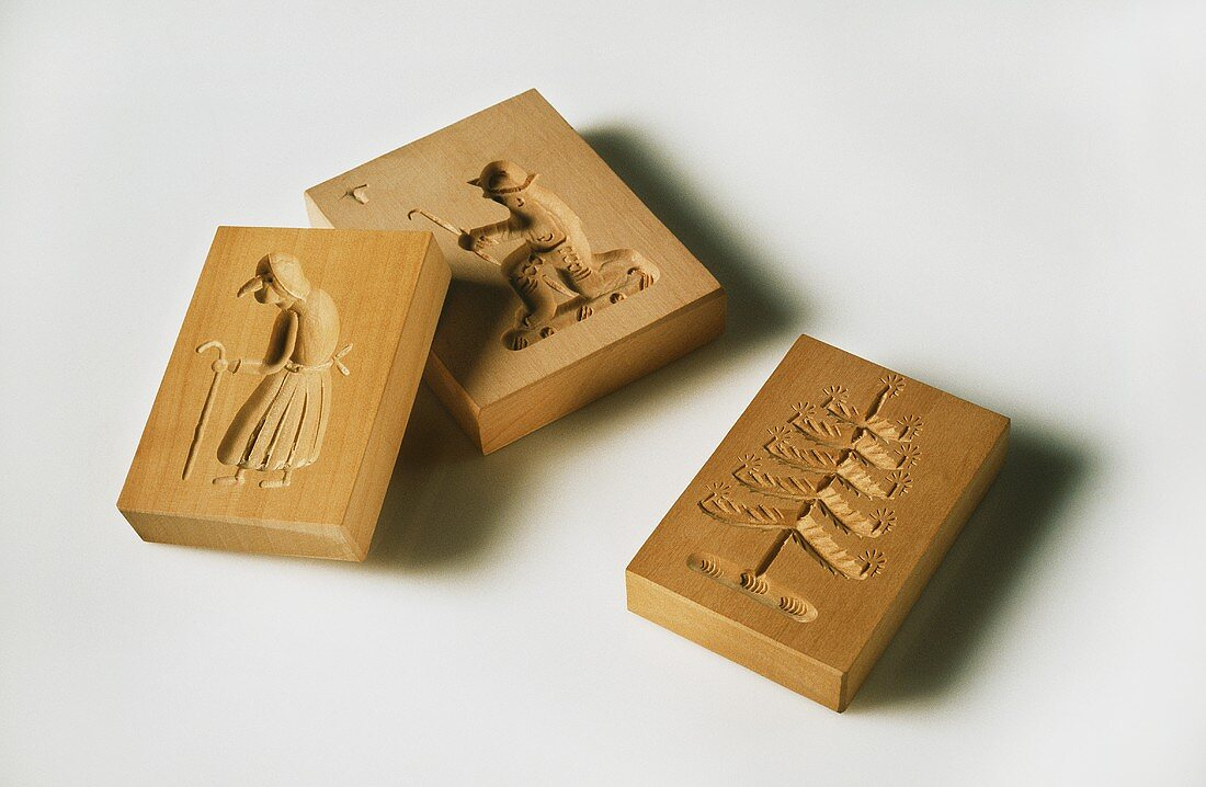 Three different moulds for Christmas biscuits (Springerle)