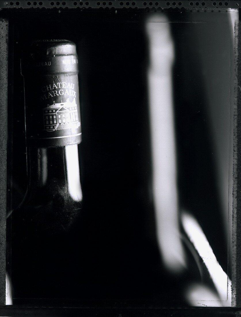 A bottle of Chateau Margeaux (b/w photo)