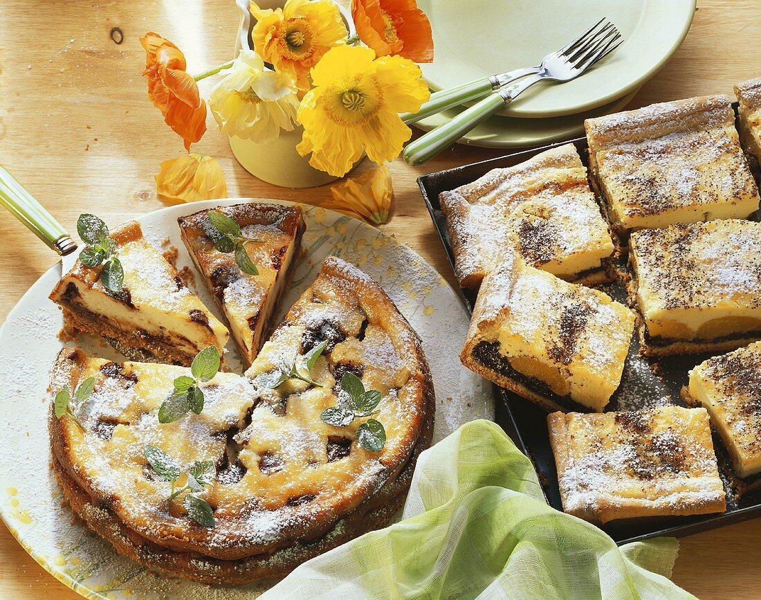 Chocolate mint cheesecake & poppy seed & apricot cheesecake
