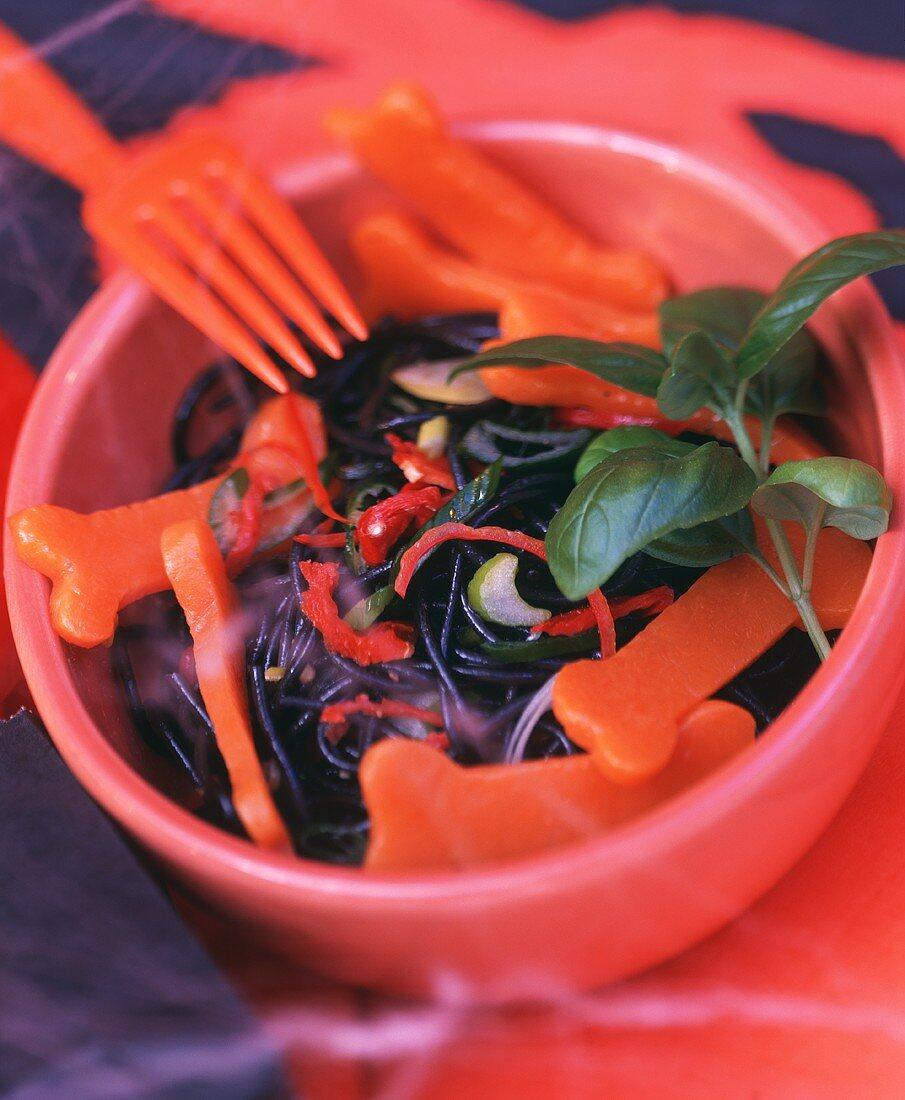 Black pasta salad for Halloween