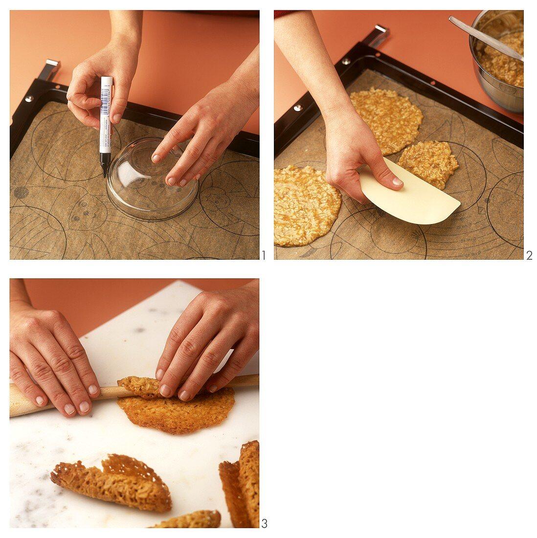 Making almond rolls for chocolate cream cake