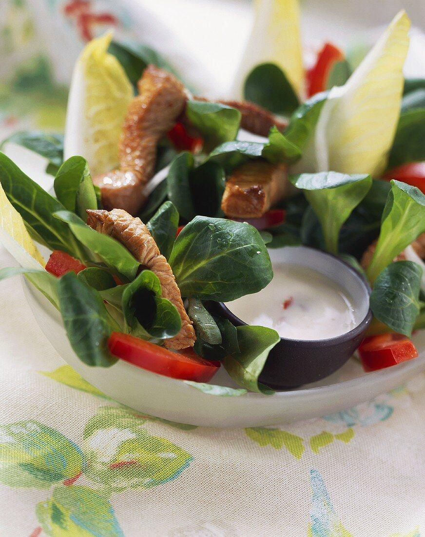 Corn salad with turkey strips