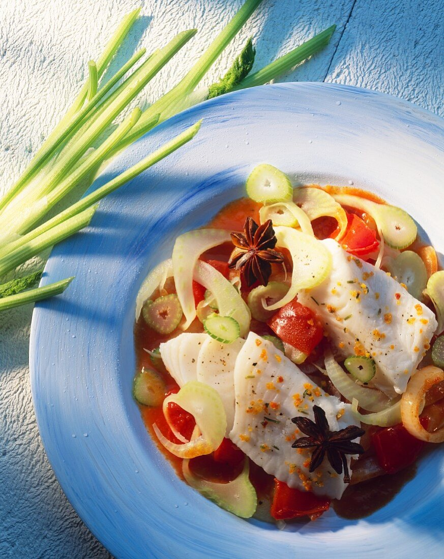 Steamed pike-perch fillet on ratatouille