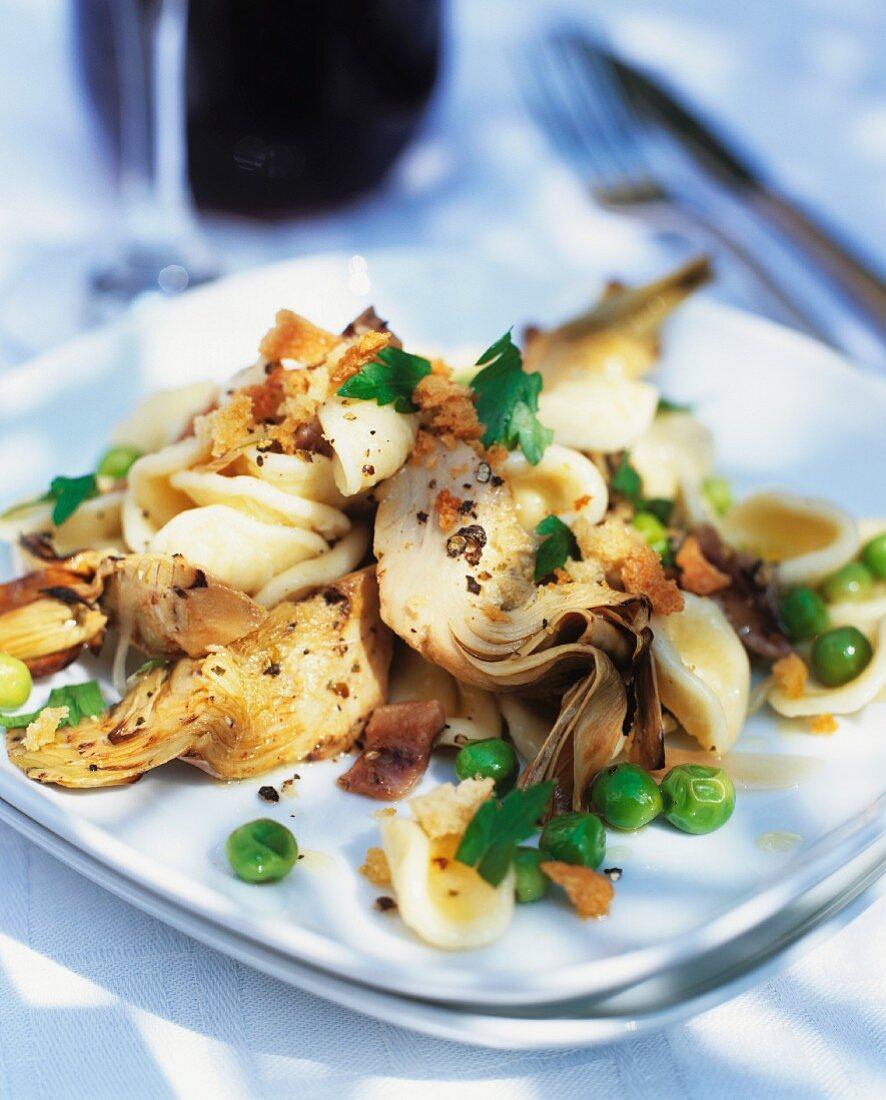 Carciofi e orecchiette (artichoke salad with pasta)