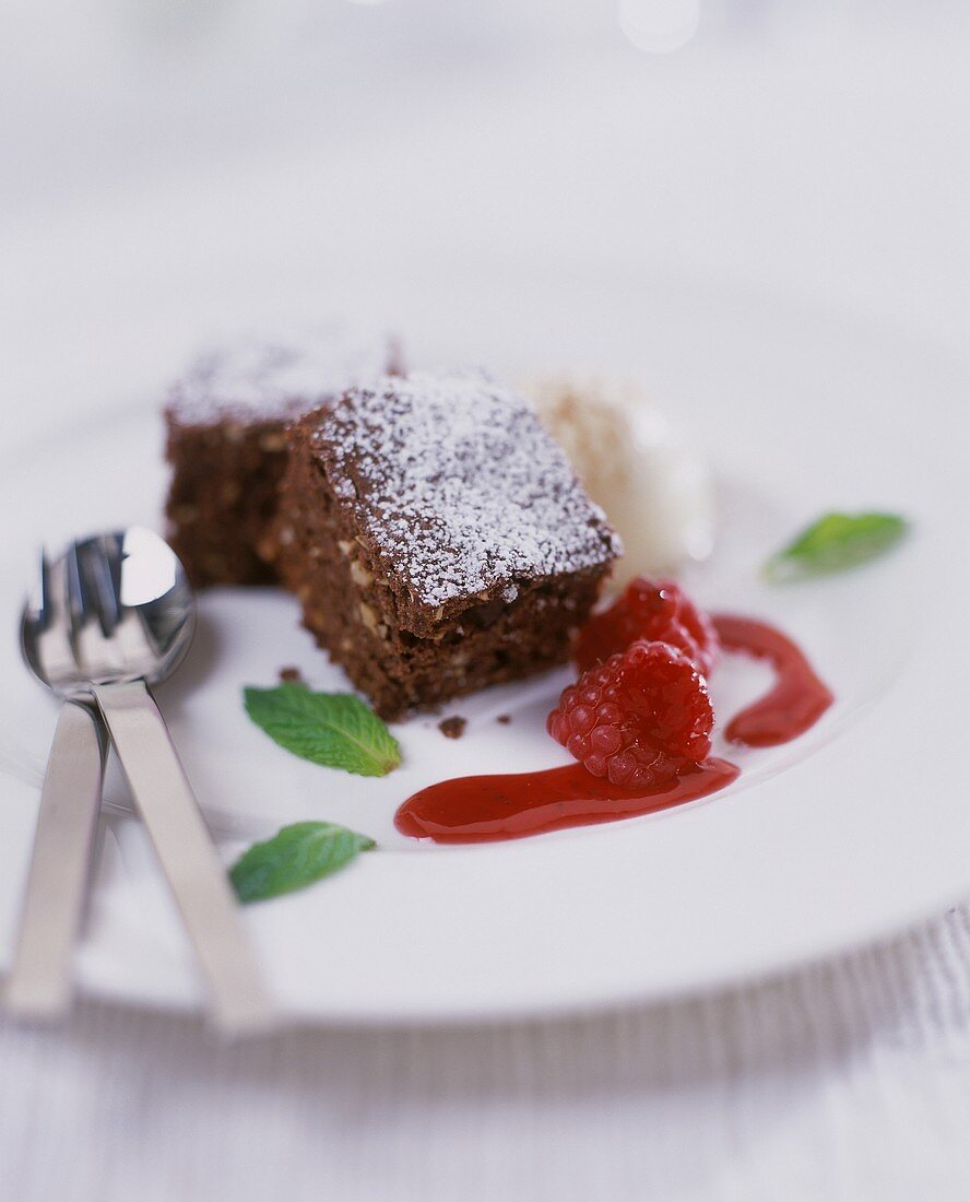 Brownies, decorated with raspberry pulp and ice cream