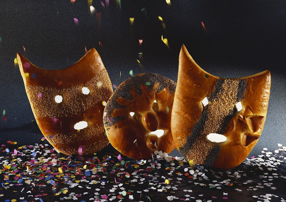 Carnival masks in yeast dough