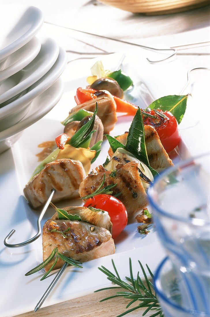 Turkey kebab and tuna kebab