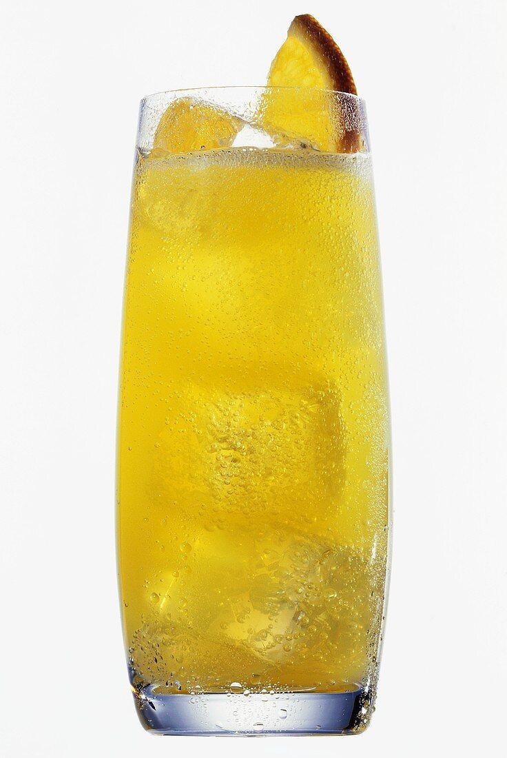 Orange lemonade with ice cubes