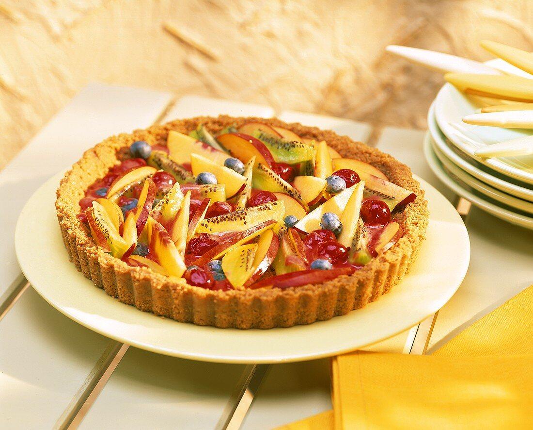 Nectarine and berry tart