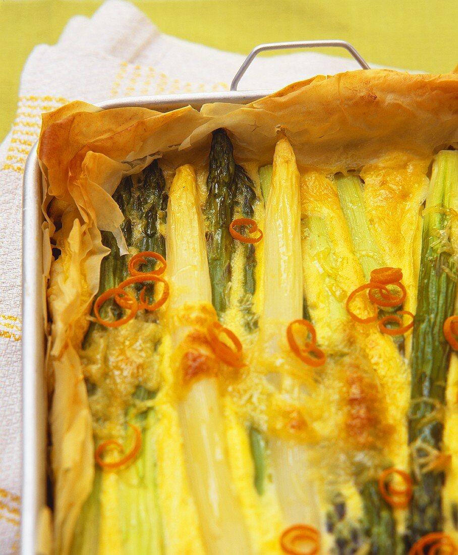 Asparagus gratin in filo pastry