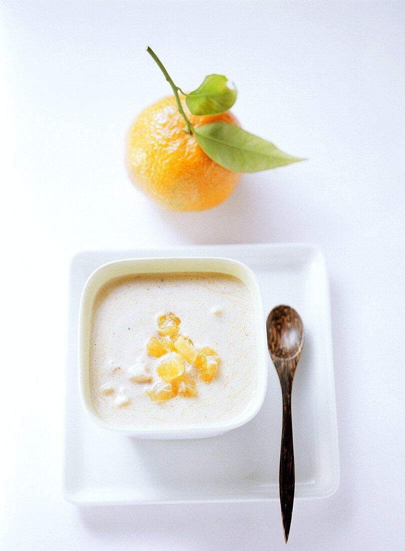 Curried yoghurt dressing with mandarins