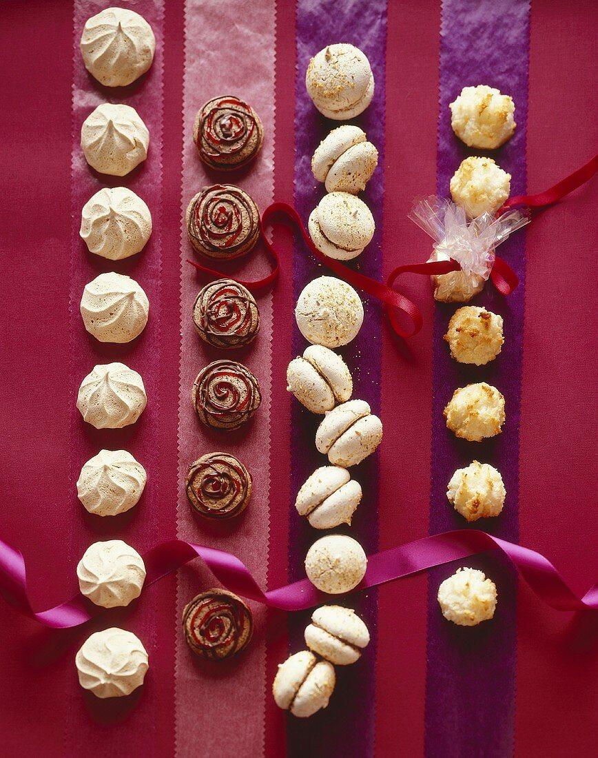 Meringue biscuits, chocolate cookies, nut kisses & macaroons