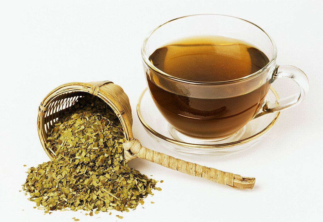 Mate tea from roasted mate leaves (Ilex paraguayensis)